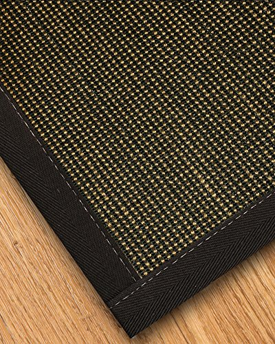 NaturalAreaRugs Chateau Collection Sisal Area Rug, Handmade in USA, 100% Sisal, Non-Slip Latex Backing, Durable, Stain Resistant, Eco/Environment-Friendly, (3 Feet x 5 Feet) Black - Non Rug Latex Sisal Slip
