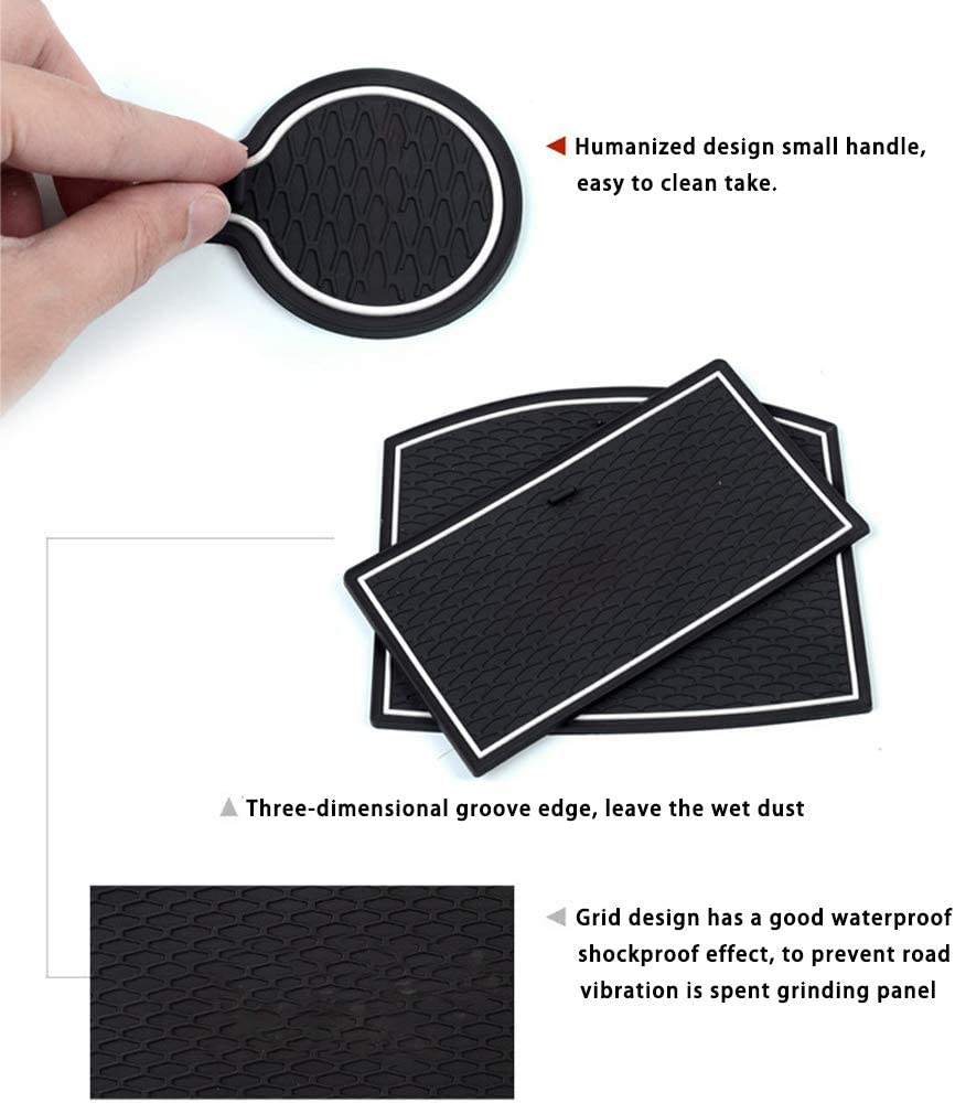 SAINA Car Groove Mats For H onda JAZZ FIT 2014-2017 Door Slot Pad Cup Holder Mat Rubber Interior Accessories Non-slip Anti-dust Mats Red