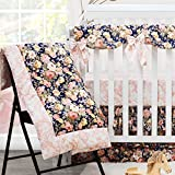 Brandream Baby Bedding Crib Sets Girl - 4 pieces 100% Cotton Soft Crib/Nursery Bedding Set - Baby Comforter & 2 Fitted Crib Sheet & Triple Ruffle Crib Skirt,Navy and Pink, Rose Floral Printed