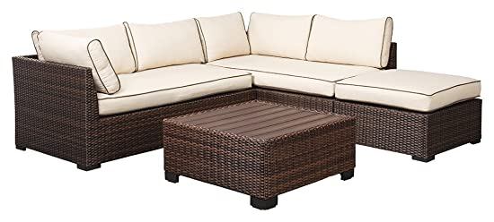 Ashley Furniture Signature Design – Loughran Outdoor Sectional Set – Loveseat Sectional, Ottoman Cocktail Table – Beige Brown