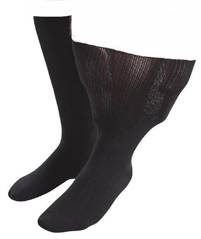 Iomi Footnurse - Mens & Ladies Unisex Extra Wide Oedema Socks (13-15 US, Black)