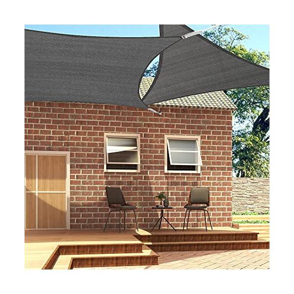 61zQhZayy3S EUGAD Sonnensegel Quadrat 2x2m Sonnenschutz 200g/m² Garten Balkon Terrasse HDPE Wetterschutz atmungsaktiv Grau 0177ZYF