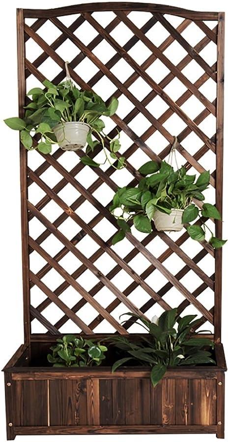 Soporte de flores Balcón de cuadrícula de madera maciza ...