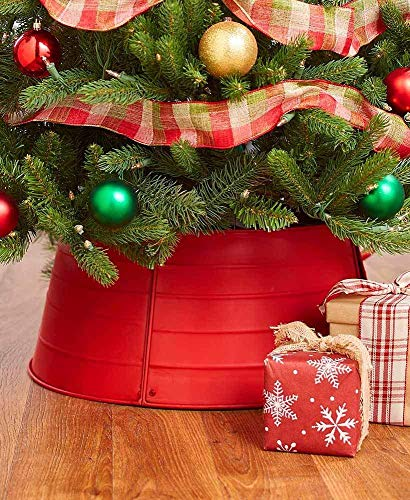 The Lakeside Collection Decorative Metal Christmas Tree Ring - Red (Tree Basket Christmas Stand)
