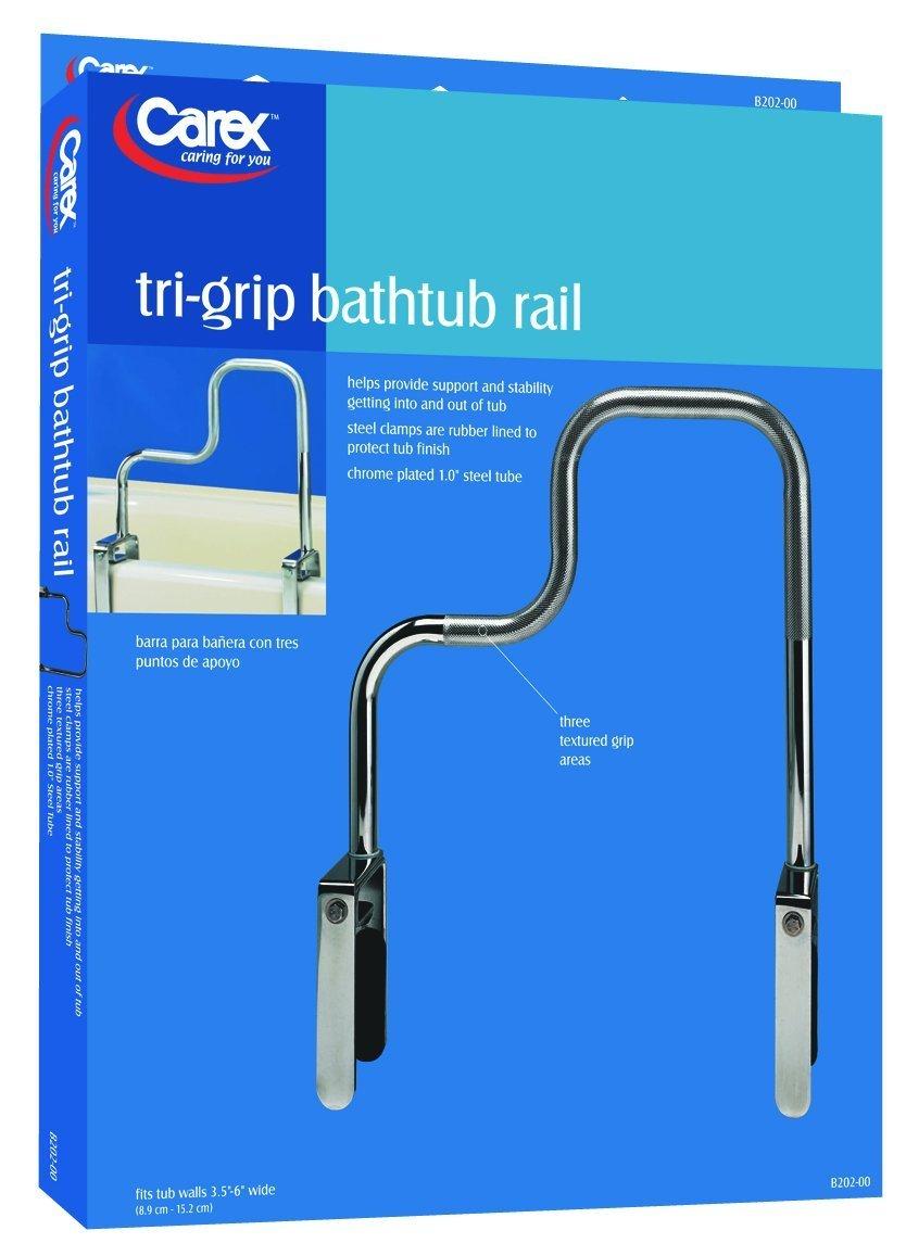 Amazon.com: Carex Health Brands Carex Tri-Grip Bathtub Rail with ...