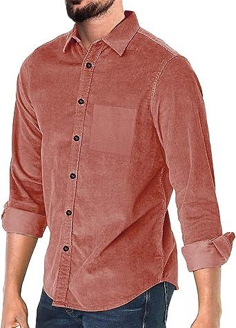 Camisa de pana para hombre con botones y manga larga acanalada para otoño de corte entallado, informal, cálida