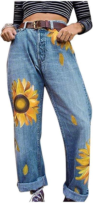 Zezkt Vaqueros Largos Slim Jeans Con Estampado De Girasol Para Mujer Moda Casual Pantalones De Mezclilla Rectos Pantalon Denim Largo Amazon Es Ropa Y Accesorios