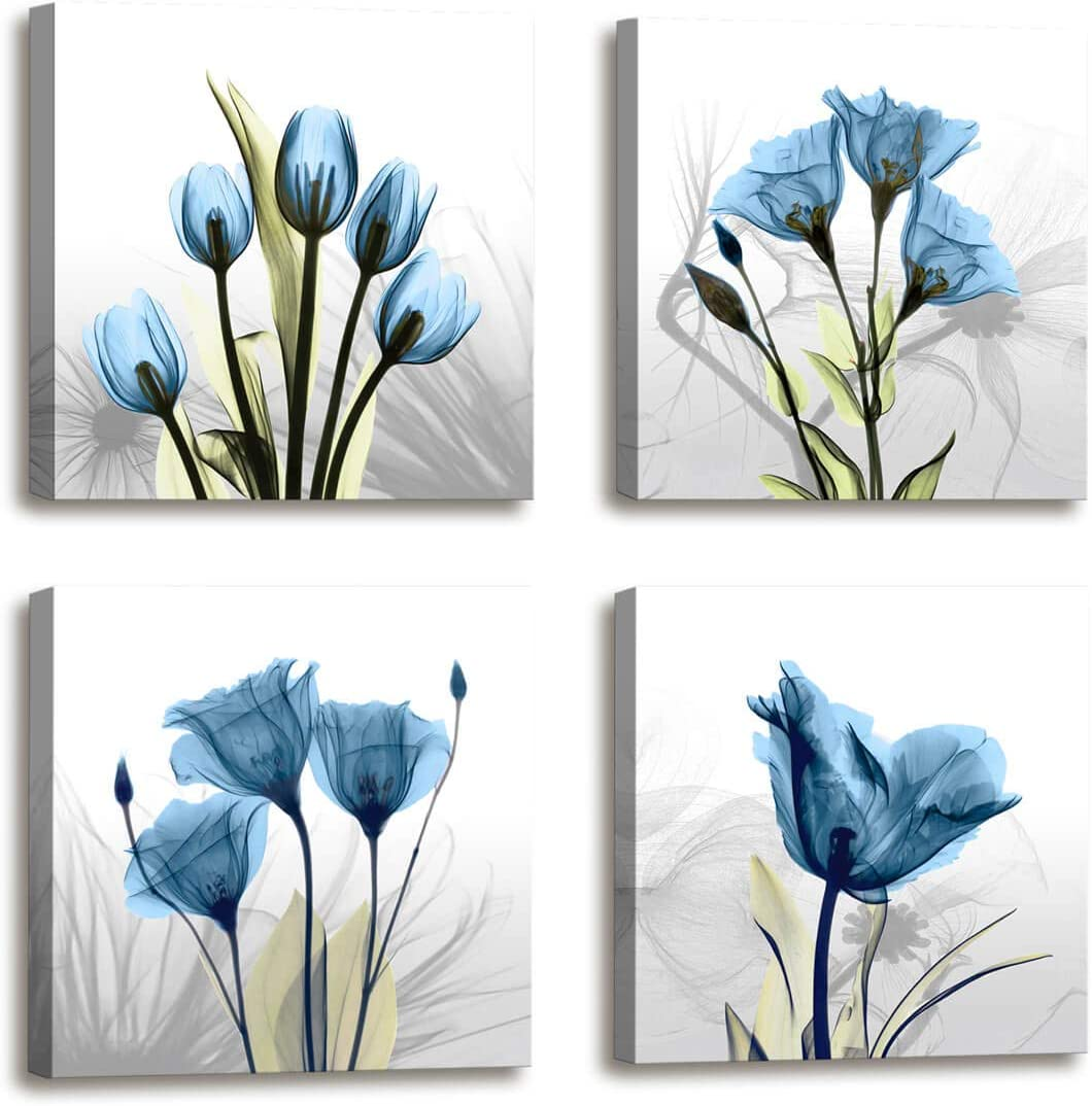 Amazon Com Wall Decorations For Living Room Decor 4 Panel Elegant Tulip Flower Canvas Print Wall Art Paintings For Dining Room Wall Decor And Modern Framed Art Home Decor Size 12x12inchx4pcs Blue