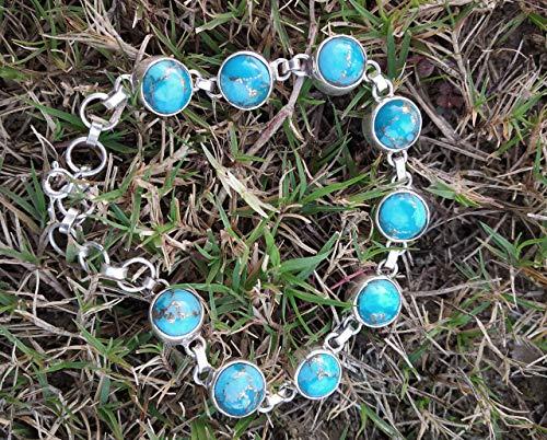 Blue Copper Turquoise Bracelet, 925 Sterling Silver, Tennis Bracelet, Victorian Bracelet, Romantic Statement Bracelet, Vintage Style Filigree Bracelet, Bohemian Tribal Bracelet, Southwestern Bracelet