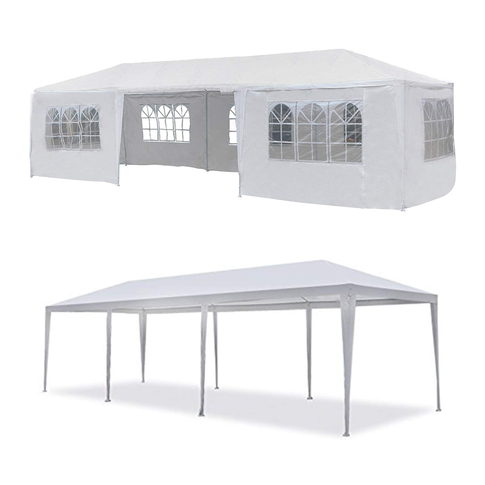 mecor 10'x30'Outdoor Canopy Party Event Wedding Tent with 7 Removable Sidewall 3 Rooms,Upgraded Stainless Steel Tube Waterproof Sun Shelter Canopy for Shows,Camping Etc (10'x30')