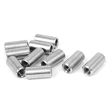 Uxcell a16050300ux0578 M8x1.25mm Threaded Sleeve Rod Bar 304 Stainless Steel Round Connector Nuts 10pcs
