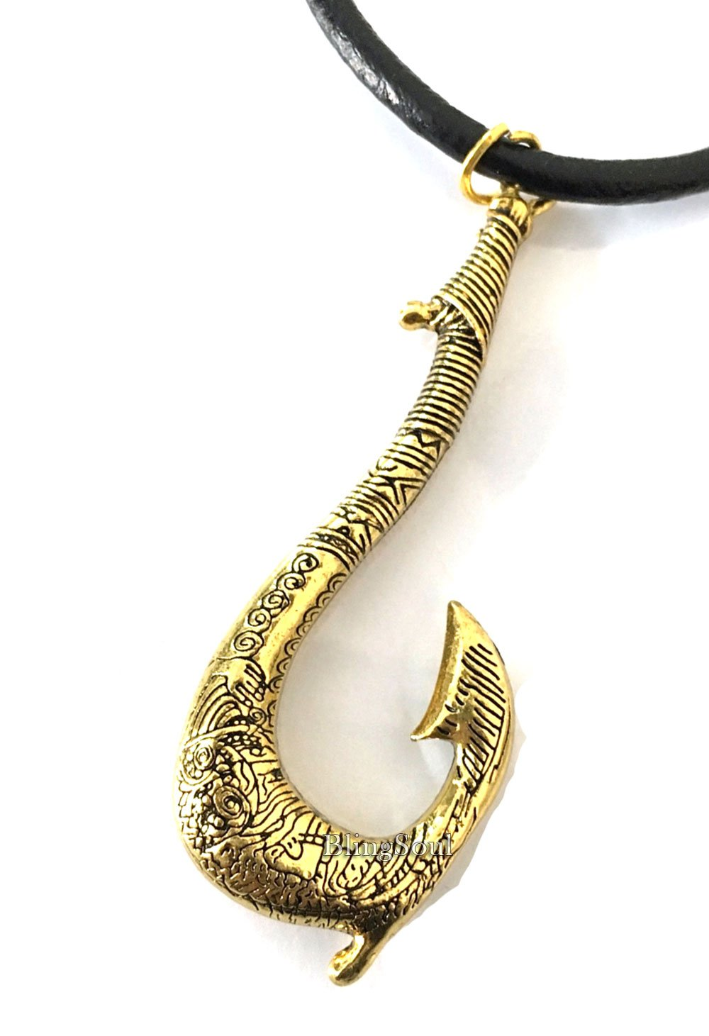 Maui Jewelry Disney Moana Gifts Women - Moana Fish Hook Necklace (Gold) by BlingSoul (Image #2)