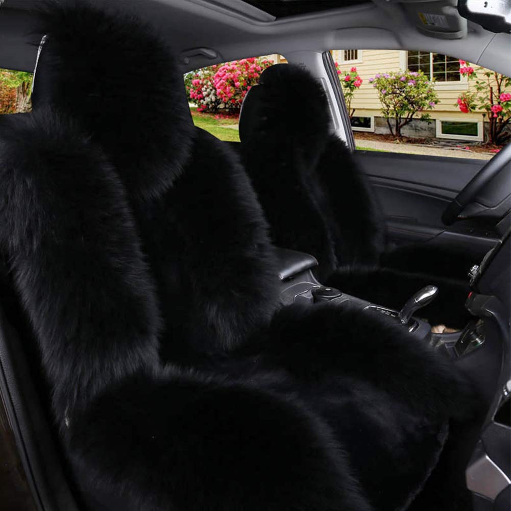 rwu0 Universal Soft Artificial Wool Seat Cover for Car,Detachable Winter Warm Car Seat Cover Faux Fur Cushion for Car Front Seat