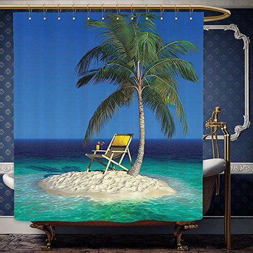 Wanranhome Custom-made shower curtain Seaside Decor Set Chair under A Palm Tree on A Small Uninhabited Tropical Island Clear Ocean Photo Green Blue Yellow For Bathroom Decoration 36 x 78 - Curtains John Lewis Net