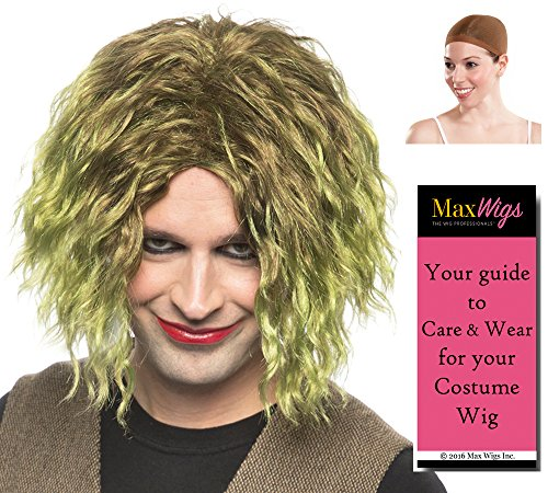 The Joker Color Dark Dirty Green - Enigma Wigs Mens Night Villain Crazy Bundle with Wig Cap, MaxWigs Costume Wig Care Guide -