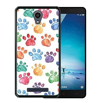 WoowCase Funda Xiaomi Redmi Note 2, [Xiaomi Redmi Note 2 ] Funda Silicona Gel Flexible Huellas Perro, Carcasa Case TPU Silicona - Negro