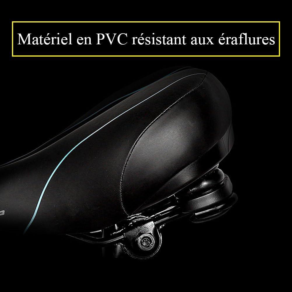 Extrbici Selle de V/élo VTT Ultra Confortable Hydror/ésistant Antichoc en PVC R/ésistant aux /éraflures Gros /élastique Coussin de Si/ège Respirant avec Feu Arri/ère d/'Avertissement