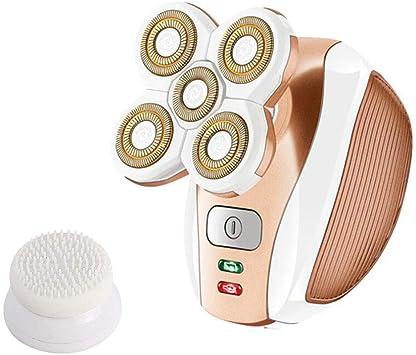 Máquina de Afeitar para Depilación, Mini Portátil Carga por USB Cinco Cabezas de Afeitadora Flotante de Cabeza para Axilas Corporales, Cara, Labios, Bikini Con 5 Cabezales de Afeitado Rápida (Oro): Amazon.es: Salud