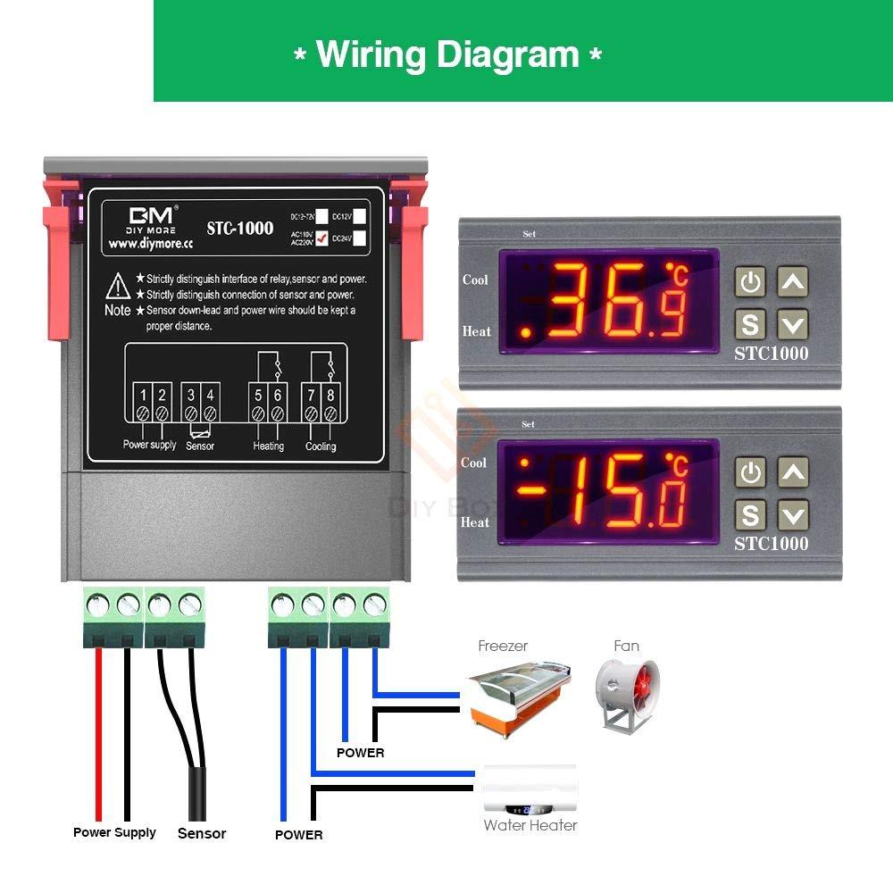 1Pc 12V//24V//110V//220V Stc-1000 Digital Temperature Controller Thermostat JMHWC