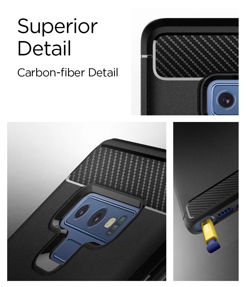 Spigen Rugged Armor Galaxy Note 9 Case with Resilient Shock Absorption and Carbon Fiber Design for Galaxy Note 9 (2018) - Matte Black by Spigen (Image #4)