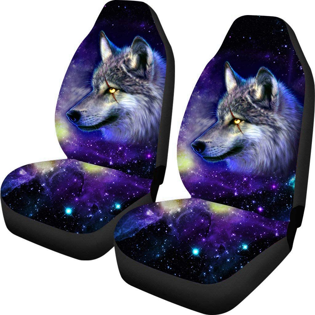 Coloranimal Wild Wolf Galaxy Animal Car Seat Covers Durable Pack of 2 Protector Fits Most Cars Vans Front Seats