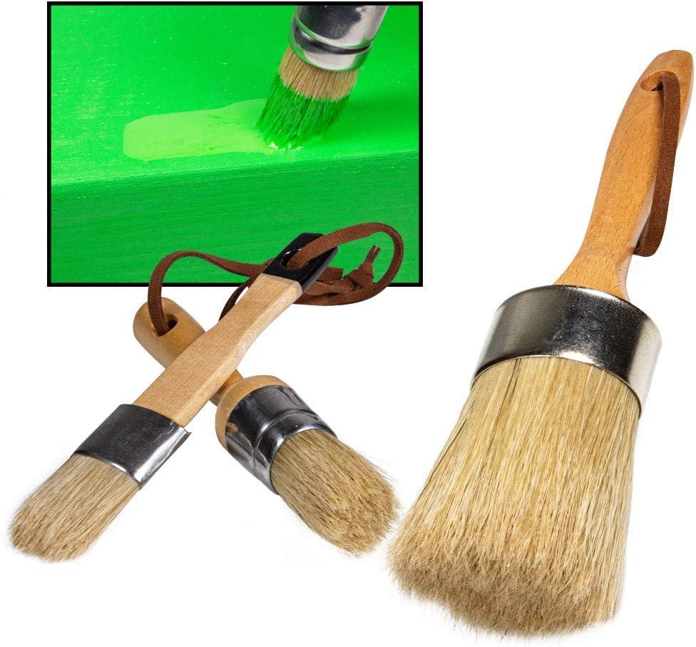 Chalk Paint Brushes for Furniture- 3PC Large DIY Paint Brush , Wax Brush Set, Natural Bristles Stencil Brushes Folk Art , Home Decor, Wood Paint for Furniture, Reusable