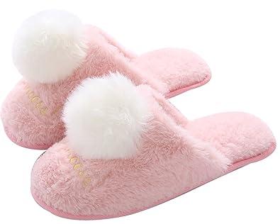 db3be100b19 FreLO Women s Pink Plush Pom-pom Fluffy Slippers Cute Slippers ...