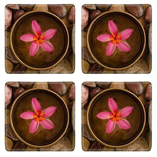 MSD Square Coasters Non-Slip Natural Rubber Desk Coasters design 20619993 frangipani spa concept photo lowlight ambient spa shallow dof by MSD