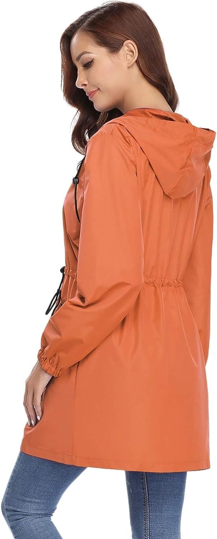 Chiusura a Lampo Abollria Giacca Donna Antipioggia Giacca a Vento per Ragazza Cappotto Lungo Casual con Cappuccio e Tasche Comode