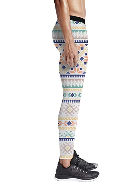 d3a081c23e7ac2 Amazon.com: LEO BON Men's Compression Pants White Star in The Black  Background Baselayer Sports Tights Leggings: Clothing
