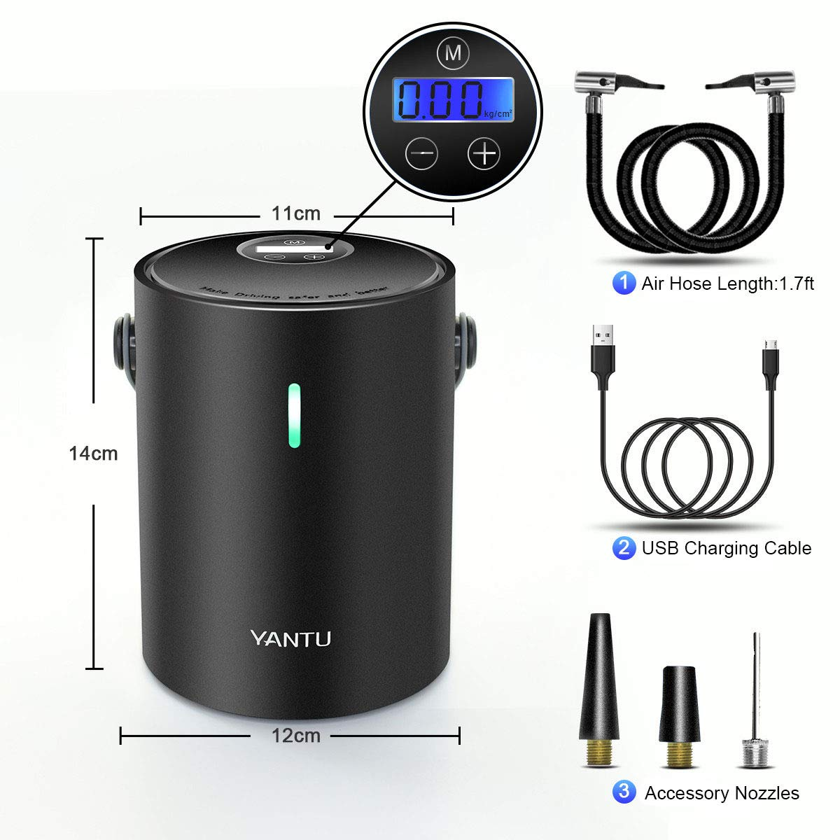 Yantu Portable Tire Inflator for Car,12V DC Wireless Air Compressor Pump with Digital Pressure Gauge Auto Shut Off USB Rechargeable 3 Different Chucks Fast n Stable Inflation (Black)