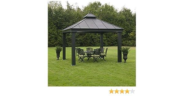 Sunjoy All Metal al aire libre 12 x 12 Hardtop Pavilion Gazebo refugio viento nominal a 65 MPH: Amazon.es: Jardín