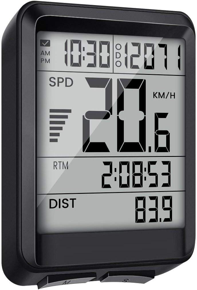 EIVOTOR - Contador de bicicleta multifunción inalámbrico para ordenador de bicicleta, velocidad impermeable, contador Kilometrico de bicicleta, con cronómetro, contador de velocidad, odomómetro, retro