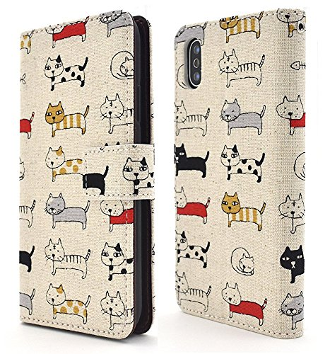 - PLATA for iPhone X/iPhone Xs Case Japanese Cotton Cat Print Case March Cat Magnetic Cover Wallet Case Note Book [ Beige ]