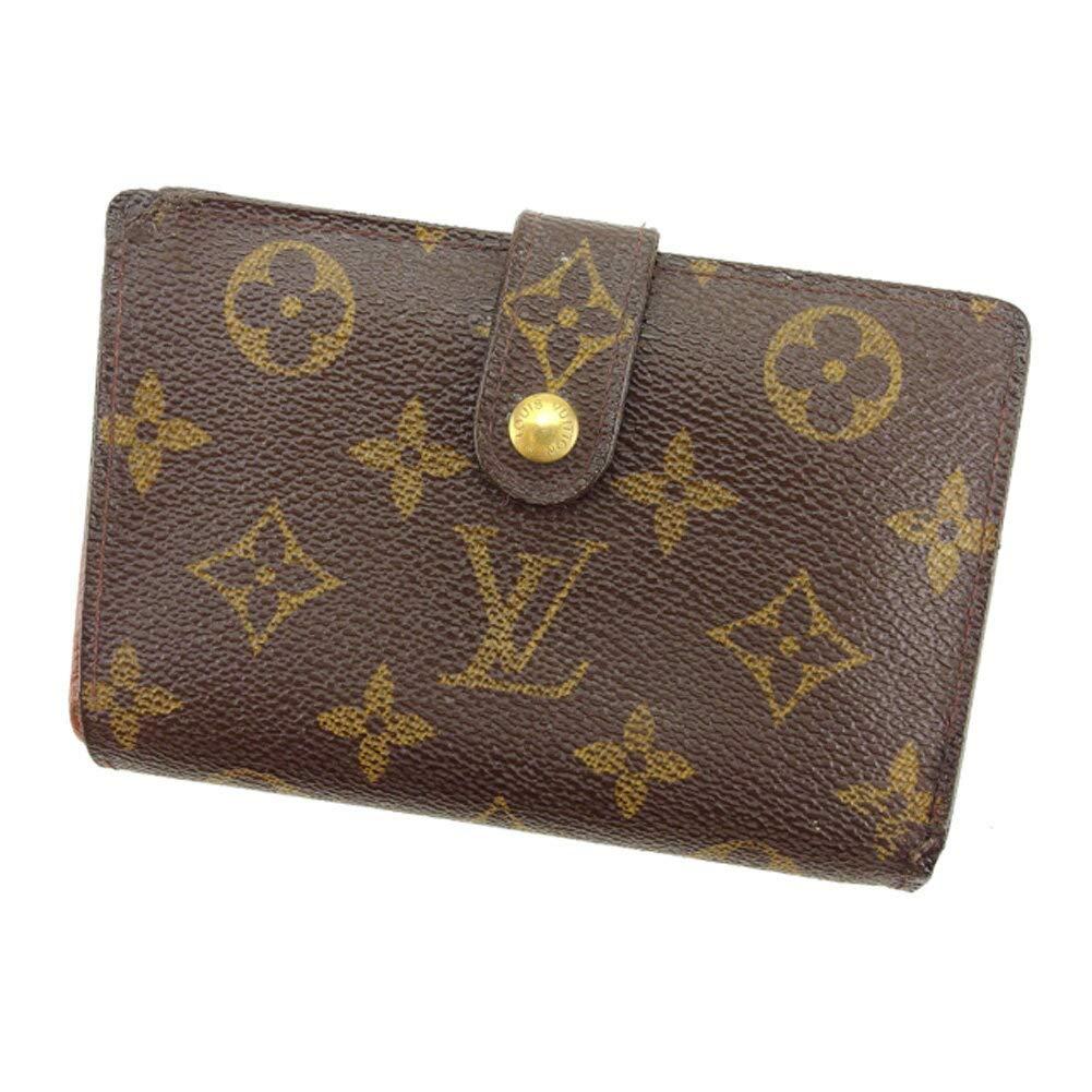 (ルイ ヴィトン) Louis Vuitton がま口 財布 二つ折り ブラウン ベージュ ゴールド ポルトモネビエヴィエノワ モノグラム レディース メンズ 中古 T8109   B07HMRJSDW
