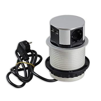 Versenkbare Steckdose für Küche und Büro – runde Einbausteckdose ideal für  Arbeitsplatte, als Tischsteckdose oder Unterbausteckdose mit 3-fach ...