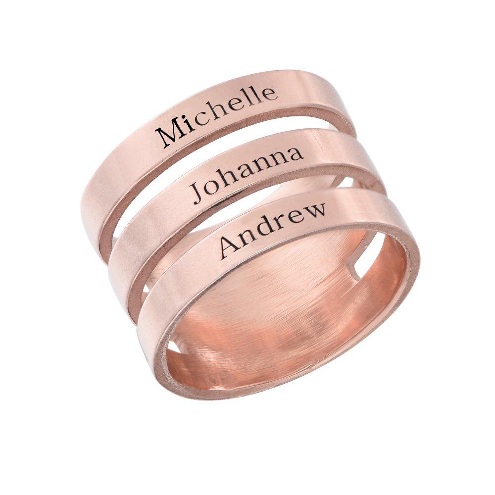 Amazon.com: Engraved Name Ring - Customize Three Names ...