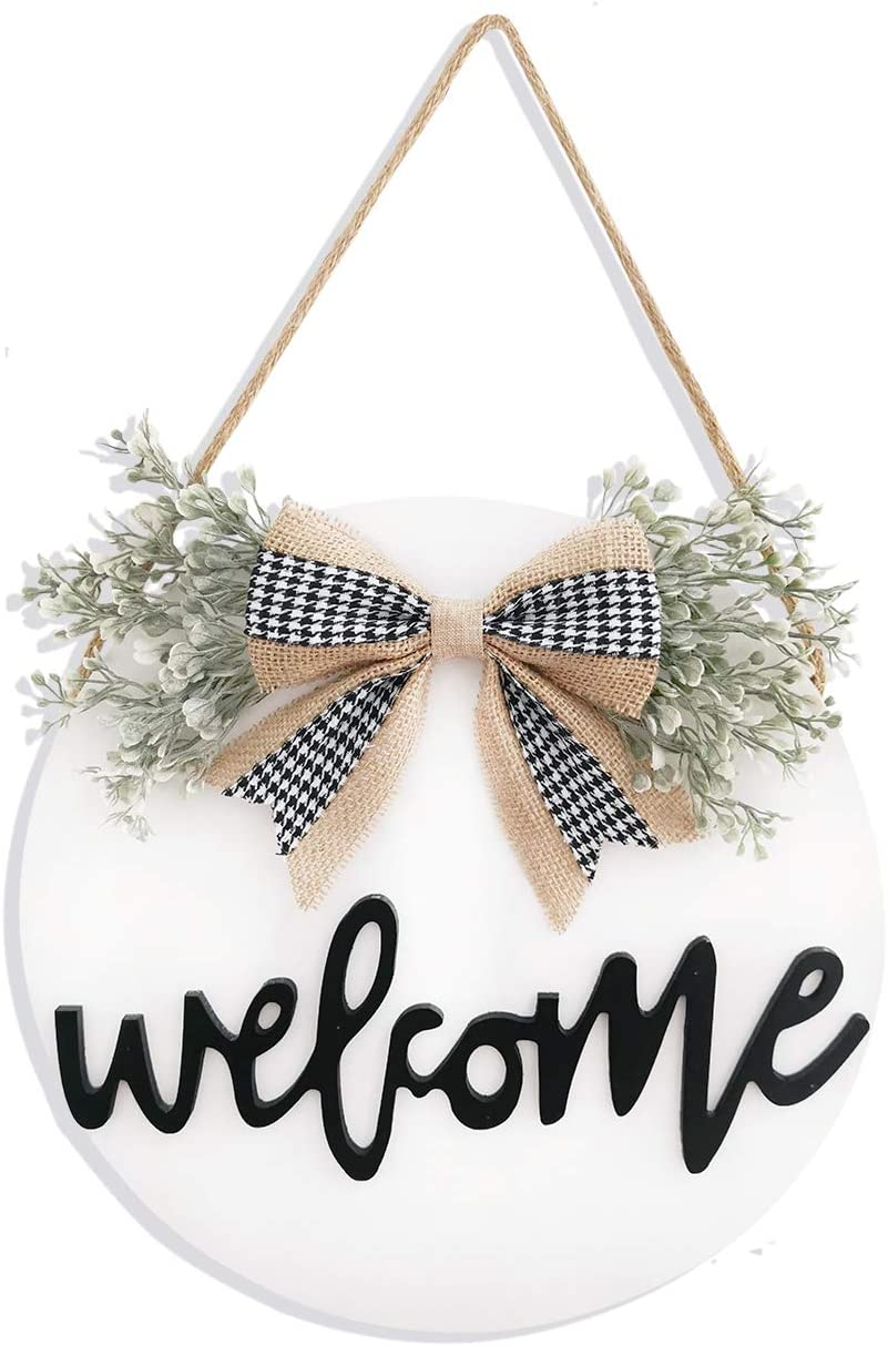 Welcome Wreaths Front Door,Welcome Sign for Farmhouse, Rustic Wooden Door Hangers Front Porch Decor Outdoor Hanging Vertical Sign (White)