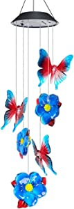 Solar LED Wind Chimes Outdoor,VEEKI Color-Changing Mobile Wind Chime Waterproof Wind Chime hanging Solar Powered Wind Chimes Lights for Outdoor Garden corridor Decoration (Butterfly+Flower)