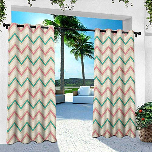 leinuoyi Chevron, Outdoor Curtain Waterproof, Digital Chevron Forms with Technical Elements Old Military Insignia Print, Set for Patio Waterproof W72 x L108 Inch Pink Cream Green