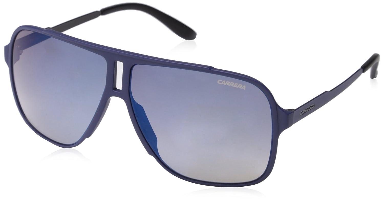 Carrera Men's Ca122s Rectangular Sunglasses Black Shiny Matte/Gray Blue 61 mm CARRERA122/SIR_GUY-61