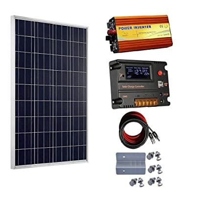 amazon com : eco-worthy 100 watt 12v solar panels kit + 20a charge  controller + 1000w power inverter for off-grid 12 volt battery system :  garden & outdoor