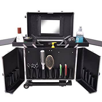 Amazon.com : Professional Hair Stylist Aluminum Rolling Tool Box ...