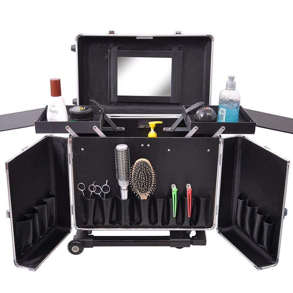 Professional Hair Stylist Aluminum Rolling Tool Box Makeup Artist Salon Train Case