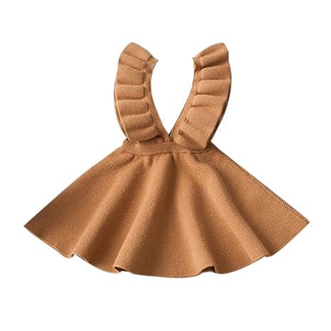 feiXIANG Ropa para niños Ropa para niños Ropa de Primavera y otoño Vestido de Punto suéter Falda con Volantes Vestido de Princesa Vestido de niña Fiesta ...