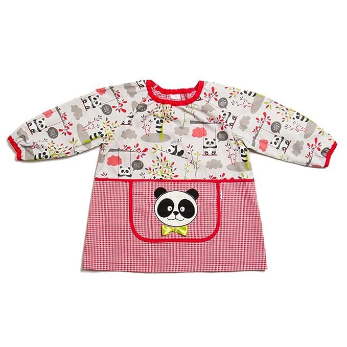 Dyneke Babi elástico rojo Panda (personalización opcional gratuita con nombre bordado)(Talla 1