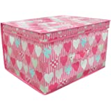 High Quality Folding Pink Hearts Kids Room Tidy Toy Storage Box with Lid
