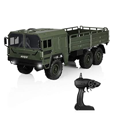 HELIFAR RC Trucks 1/16 Scale 6WD 12km/h Military Remote Control Off-Road Car, 20mins Running Time for Children & Adults (Army Green): Toys & Games