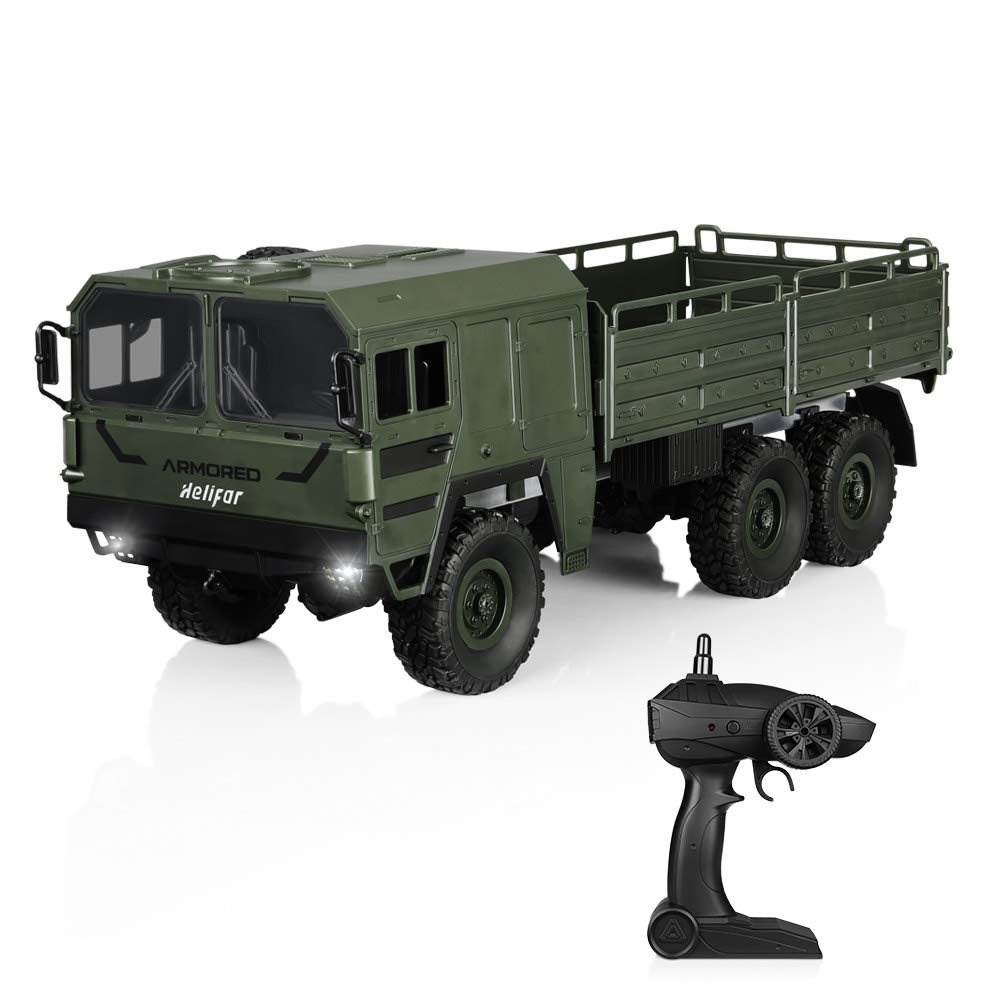 RC Military Truck, HELIFAR RC Trucks 1/16 6WD, RC Cars 2.4G Remote Control Car for Kids Radio Controlled Cars Remote Control Trunk Off-Road Car 12km/h or Children & Adults