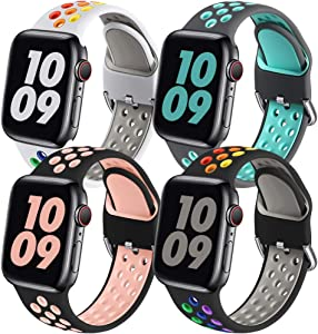 Easuny Sport Band Compatible for Apple Watch 40mm 38mm Women Men - Soft & Durable Silicone Replacement Strap Breathable Wristband with Air Holes for iWatch SE Series 6 5 4 3 2 1, S/M 4 Pack